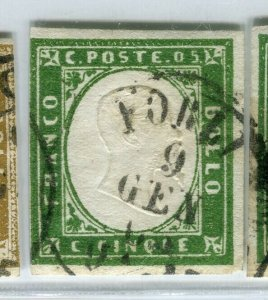 ITALY SARDINIA; 1855 classic Imperf issue used SHADE of 5c. value + POSTMARK