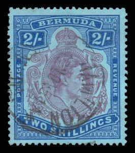 Bermuda 1950 KGVI 2 Keyplate Perf 13 Rossastro Viola Sg 116f Usato Cv