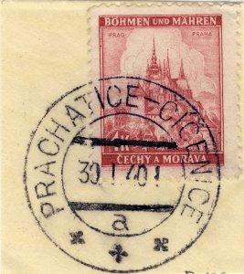 BÖHMEN u. MAHREN 1940 PRACHATICE-CÍCENICE a * * *  railway carrier CDS /Mi.28