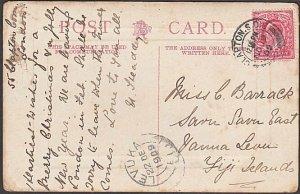 GB 1909 Postcard ex Clapton to Fiji - Levuka arrival cds....................D881