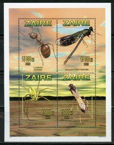 ZAIRE SCOTT # 1449 INSECTS  SHEET OF FOUR  MINT NEVER HINGED