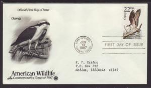 US Osprey 1987 PCS Typed FDC BIN