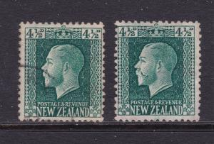 New Zealand x 2 KGV 4.5d different perfs used