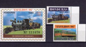 Honduras 1996 TRAINS set (2) Perforated+1 s/s Imperforated Mint (NH)