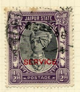 INDIA;    JAIPUR  1930s early SERVICE issue 1/2a. fine used value