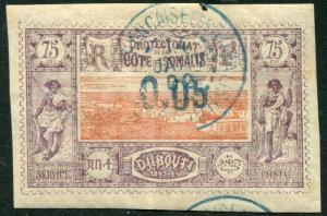 DJIBOUTI-1902 0.05 on 75c Value Cancelled to Order Sg 108 VERY FINE USED  V20928