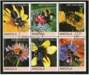 Angola 2000 Honeybees Apiculture Insect Flower Fauna Setenant BLK/6 Cancelled...