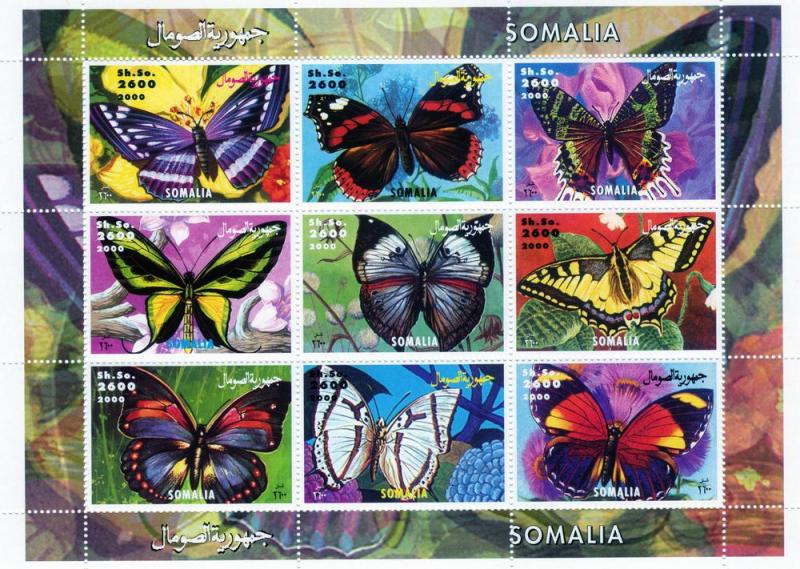 Butterflies of the World Shlt (9) Perf.MNH Somalia 2000