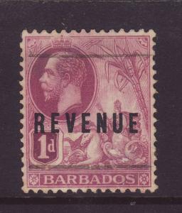 1916 Barbados 1d Optd Revenue F/Used