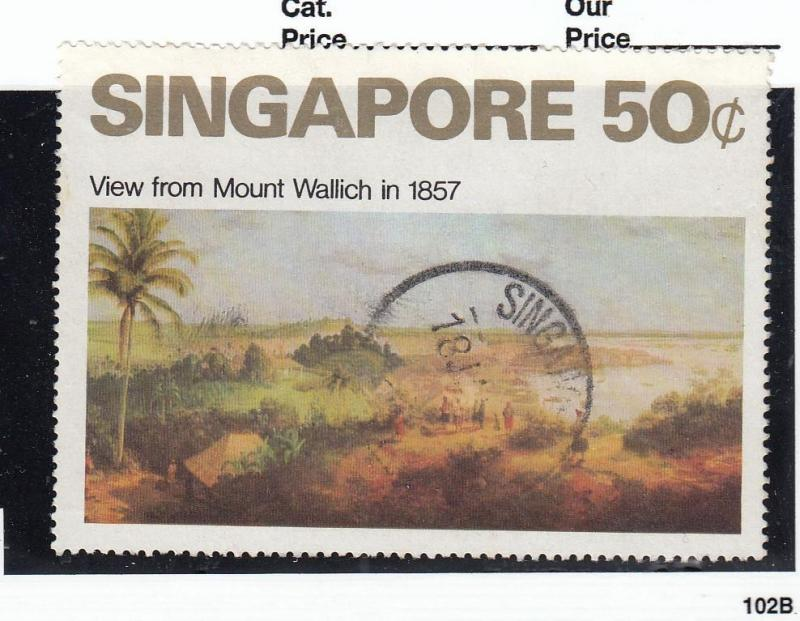 SINGAPORE # 148 VF-SON CANCEL 50cts VIEW FROM MOUNT WALLICH IN 1857