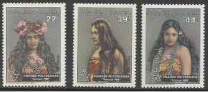 French Polynesia #411-13, MNH set, Polynesian faces, Issued 1985