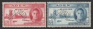 ADEN : 1946 KGVI Victory set 1½a & 2½a, perf SPECIMEN.