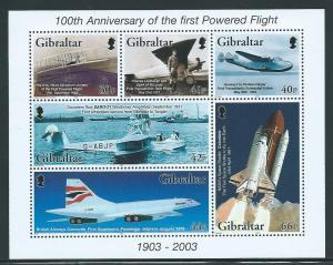 Gibraltar 937a 2003 100th Powered Flight m/s MNH