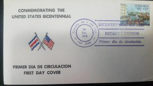O) 1976 COSTA RICA, CONMEMORATING THE UNITED STATES BICENTENNIAL, BICENTENARY OF