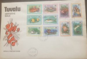 O -r) 1979 TUVALU, FISH - FAIRY - CLOWN - LIONFISH - LONG-NOSED BUTTERFLY