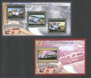 BC002 2012 GUINEA TRANSPORT MOTOS USA CARS AUTOMOBILES KB+BL MNH