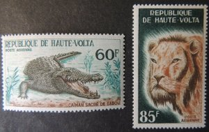 Upper Volta 1965 wildlife crocodile lions animals 2v MNH