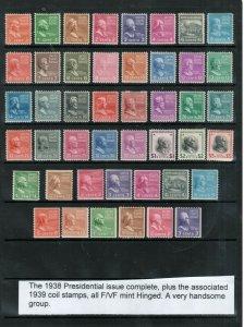 USA #803 - #834 Mint Fine - Very Fine Original Gum Lightly Hinged Set + Coils