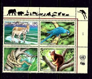 U.N. Geneva 339a MNH 1999 Wildlife Block of 4