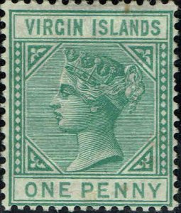 VIRGIN ISLANDS #10 1880 ONE PENNY QUEEN VICTORIA ISSUE-MINT-OG/HINGED--VF