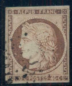 FRANCE #7, Used, 4 margins, Scott $360.00