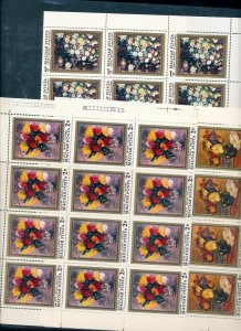HUNGARY 1977 Art Flowers Set in Sheets MNH (175 Stamps)