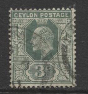CEYLON -Scott 179- KEVII - Definitive- 1904- Wmk 3 - Used -Single 3c Stamp