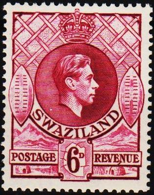 Swaziland. 1938 6d S.G.34b Mounted Mint