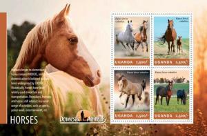 Uganda - 2014 History of Domestic Horses  4 Stamp Sheet 21D-131