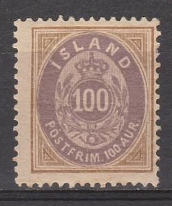 ICELAND 1882 CROWN & NUMERAL 100A