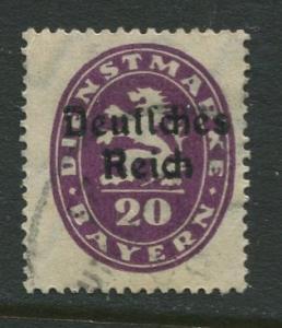 Bavaria -Scott O55- Deutsches Reich Overprint -1920 - Used - 20pf Stamp