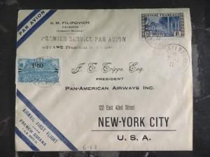 1929 French Guiana First Flight Cover FFC To New York Usa Flown By Lindbergh