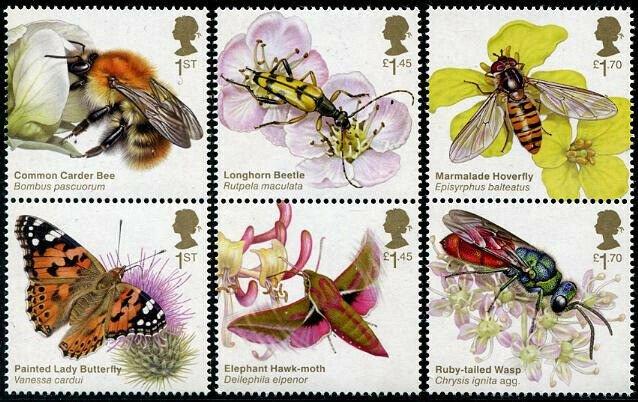 HERRICKSTAMP NEW ISSUES GREAT BRITAIN Brilliant Bugs - Bees & Butterflies