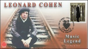 CA19-044, 2019, Leonard Cohen, Pictorial Postmark, First Day Cover, Bronze Age
