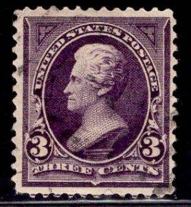 US Stamp #268 3c Purple Jackson USED SCV $2.25