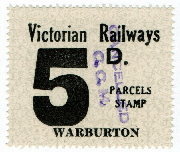 (I.B) Australia - Victoria Railways : Parcels Stamp 5d (Warburton)