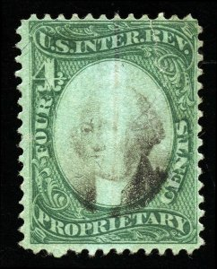B233 U.S. Revenue Scott RB4b 4-cent proprietary, green paper SCV=$25 spacefiller