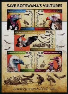 HERRICKSTAMP NEW ISSUES BOTSWANA Sc.# 987a Vultures Souvenir Sheet Mint NH