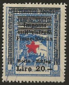 Fiume-Rijeka Croatia 1945 Partisan Govt Revenue 20L/40L Blue Fine Used