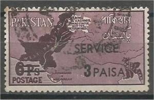 PAKISTAN, 1961, used 3p on 6p, Overprinted Scott O74