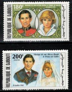 Djibouti Sc #529-530  1981 Royal Wedding of Prncess Diana + Prince Charles - MNH