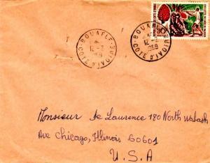 Ivory Coast 30F Cabbage Tree 1968 Bouafle, Cote d'Ivoire to Chicago, Ill.  EU...