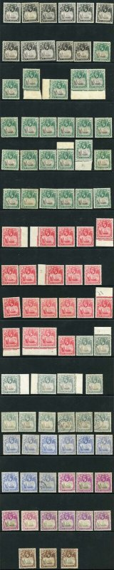 St Helena KGV Badge Issues selection M/Mint (toned) and used 88 Stamps