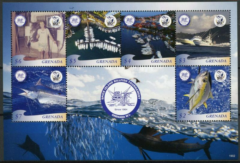 Grenada 2019 MNH Spice Island Billfish Tournament 6v M/S Fishing Boats Stamps