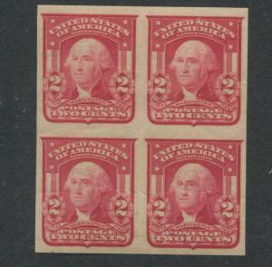 1906 US Stamp #320 2c Mint Never Hinged VF Imperf Block of 4 Type I Wmk. 191