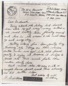 United States Marine Corps V-Mail Service 1942 4th Engineer Division, 4th Mar...