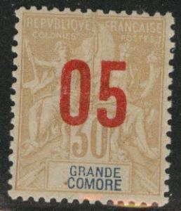 Grand Comoro Island Scott 25 MH* 1912 overpint
