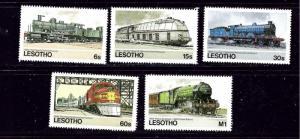 Lesotho 453-57 MNH 1984 Locomotives