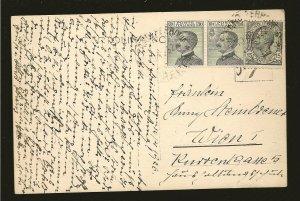Italy 96 & 103 Pair on Postmarked 1926 Postcard Used