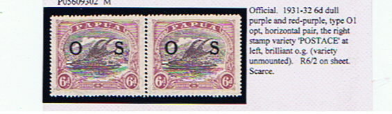 PAPUA  6d Official with 'POSTACE' error